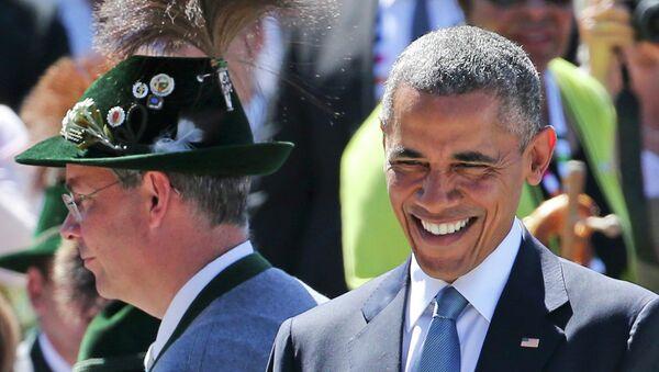 US President Barack Obama smiles as he arrives in Kruen, southern Germany, June 7, 2015 - Sputnik France