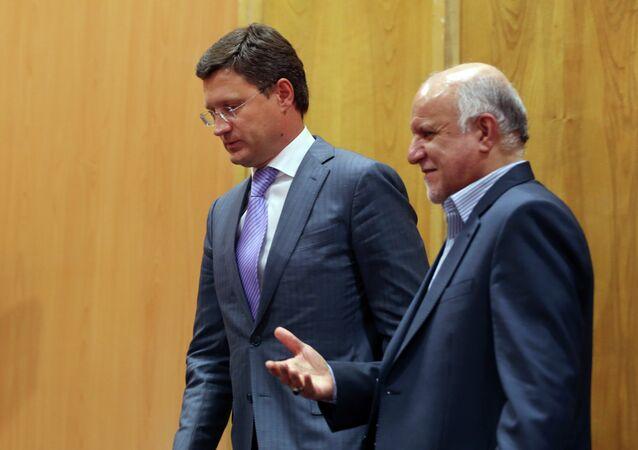 Le ministre russe de l'Energie Alexandre Novak et le ministre iranien du Pétrole Bijan Namdar-Zanganeh, septembre 2014.