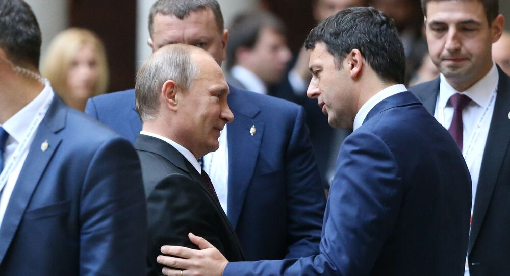 Vladimir Putine et Matteo Renzi à Milan