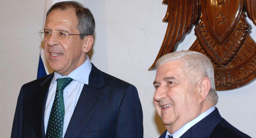 Sergueï Lavrov (à gauche) et Walid Mouallem