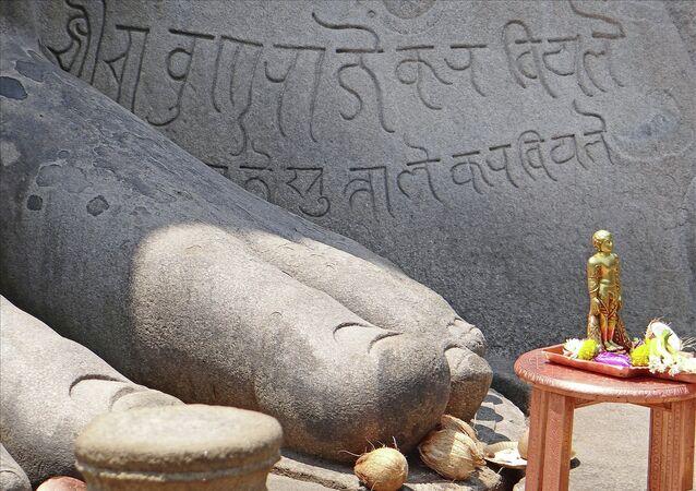 Le pied de Gomateshwara (Sravanabelgola, Inde)