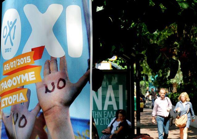 Affiches invitant à dire non ou oui lors du référendum grec