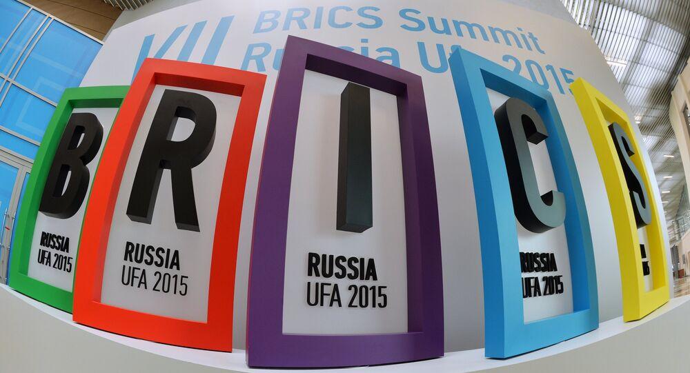 Logo des BRICS au sommet de l'organisation à Oufa