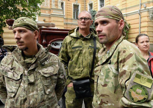 Militants de Pravy Sektor, parti ultranationaliste interdit en Russie