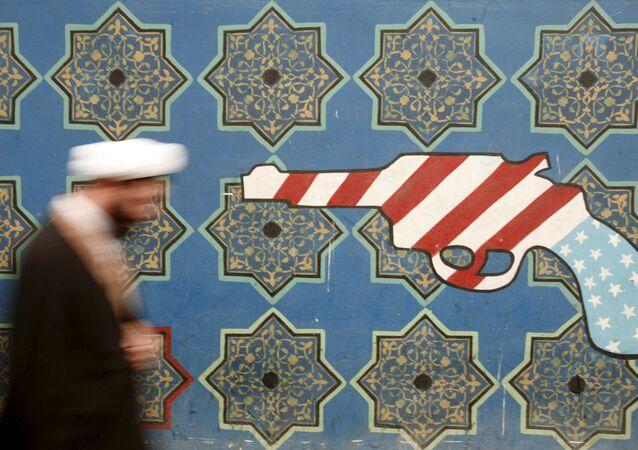 Couleurs du drapeau américain sur un ornement iranien