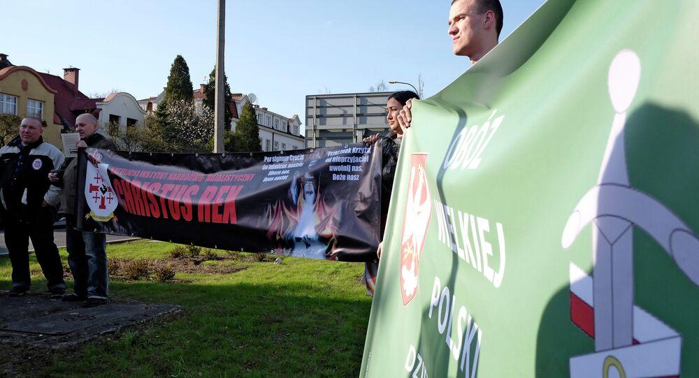 Manifestation contre la coopération militaire entre la Pologne et a Russie