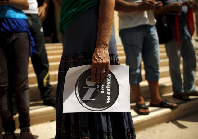 """Protesta contra la """"Ley mordaza"""""""