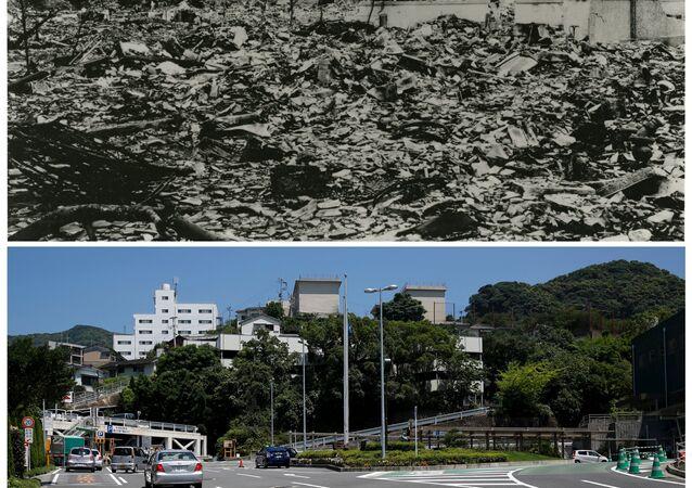 Nagasaki: une ville en ruines après le bombardement nucléaire le 9 août 1945, vue 70 ans après