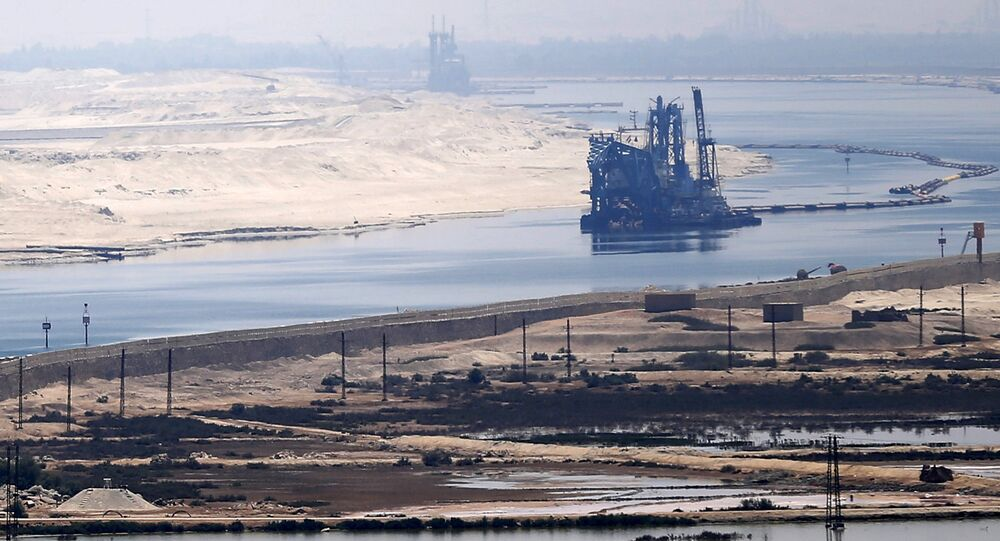 A general view of the Suez Canal from Al Salam Peace bridge on the Ismalia desert road before the opening ceremony of the New Suez Canal, in Egypt, August 6, 2015