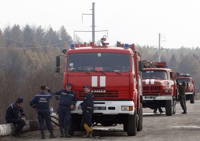 Pompiers. Zone de Tchernobyl. Archive photo