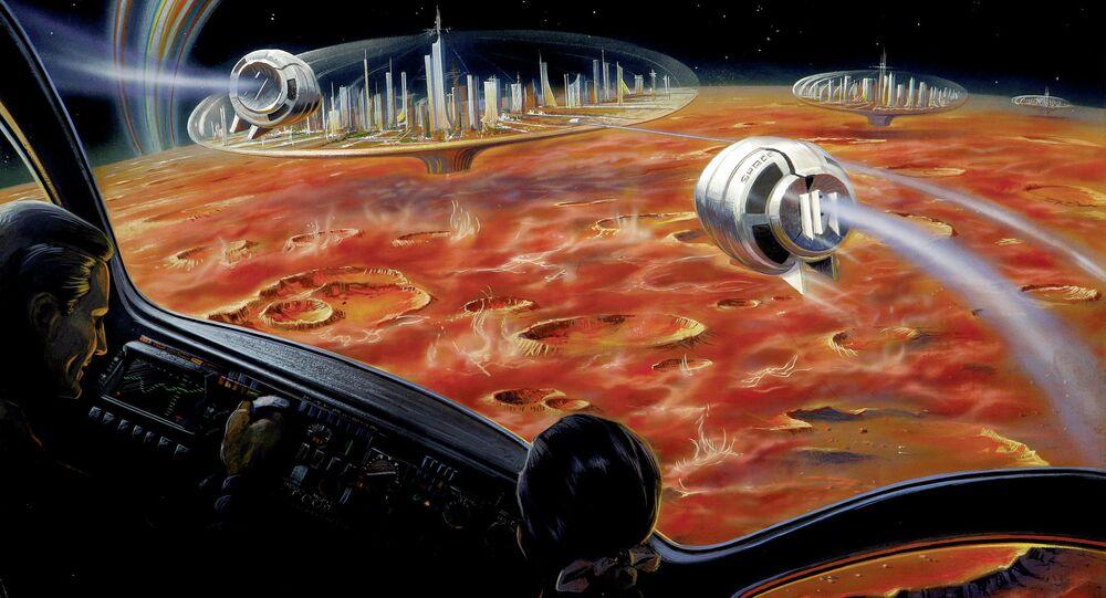 Village sur la Lune. Image d'illustration.