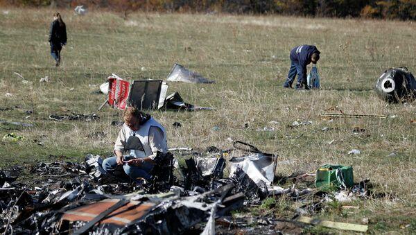 Эксперты работают на месте крушения малазийского боинга MH-17 на востоке Украины 13 октября 2014 - Sputnik France