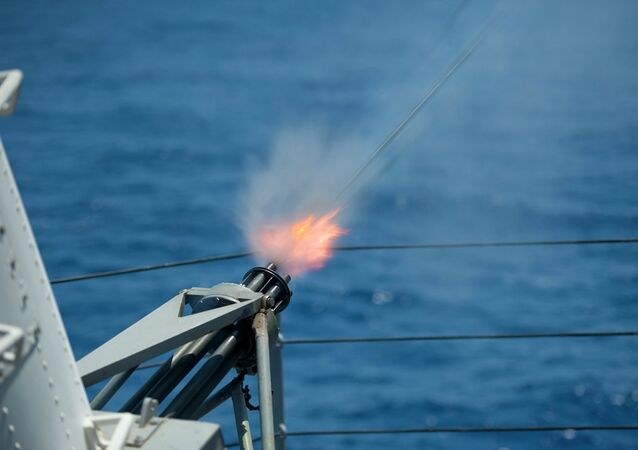 Rounds are fired from the Phalanx close-in weapons system aboard USS Blue Ridge.