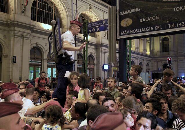 Migrants à la gare de Budapest