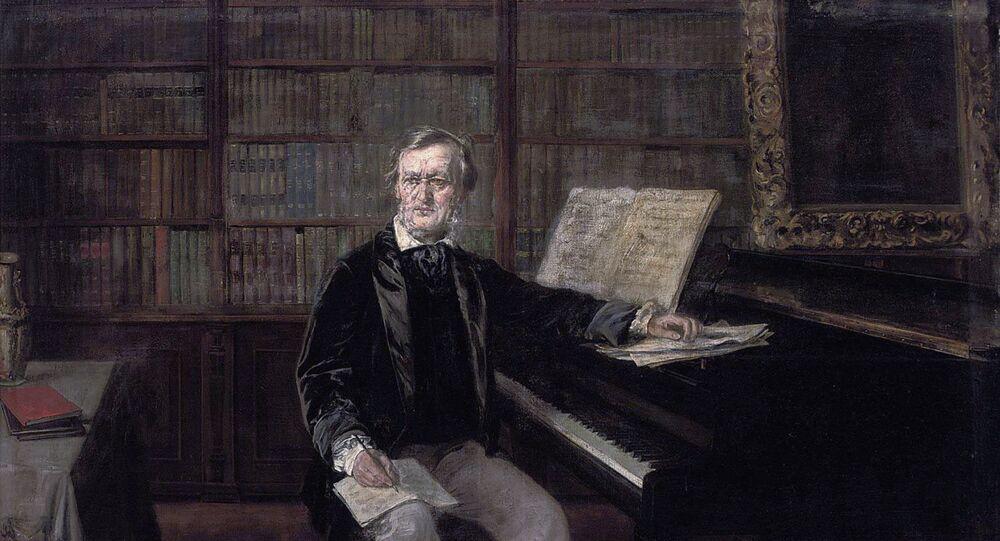 Richard Wagner composing at his piano