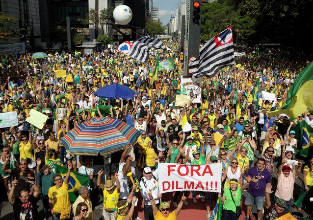 la manifestation au Brésil contre Dilma Rousseff