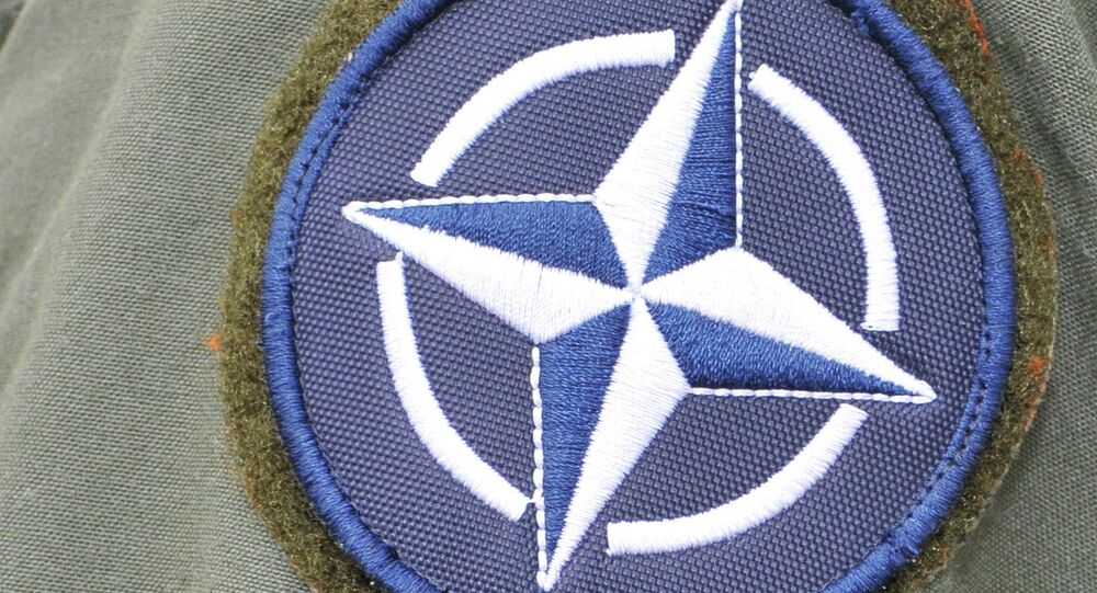 A NATO patch is fixed on a Turkish service member's flight suit