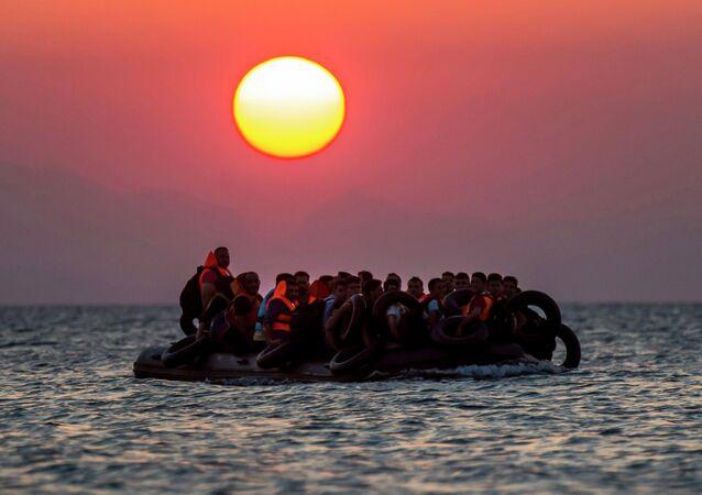 Une embarcation de migrants