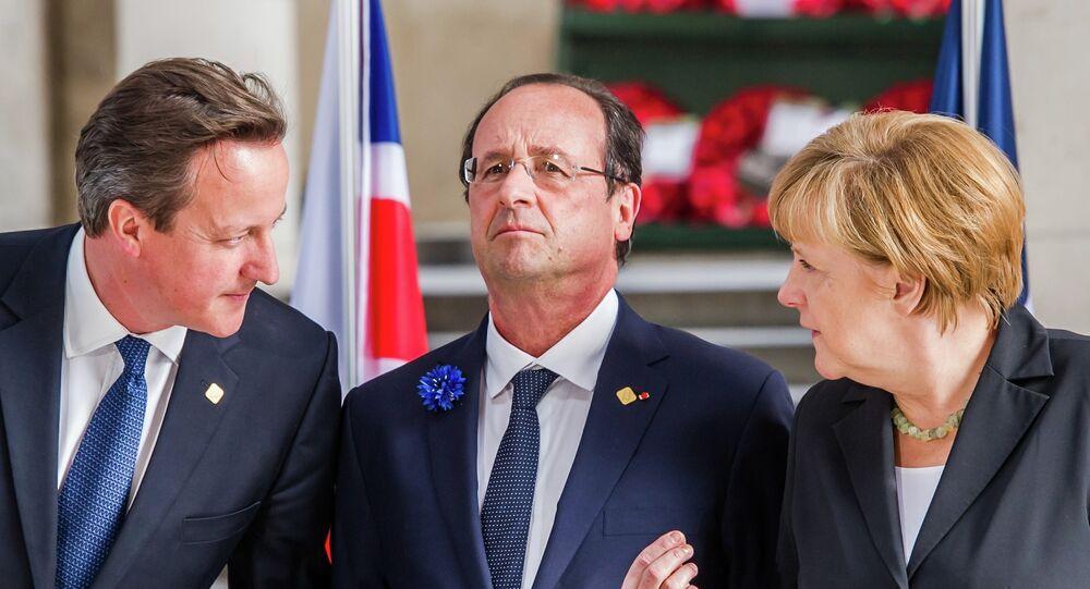 David Cameron, Francois Hollande et Angela Merkel