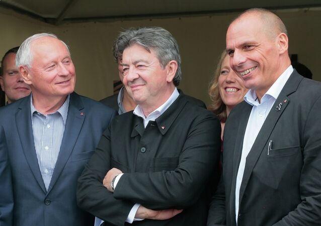 Yannis Varoufakis, Jean-Luc Melenchon et Oskar Lafontaine