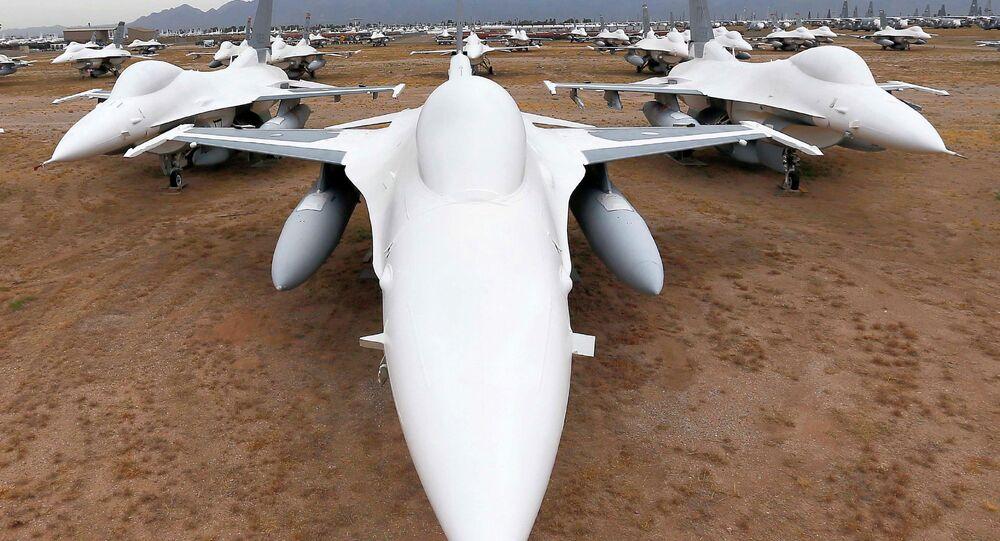Chasseurs F-16 lors d'une exposition aux Etats-Unis