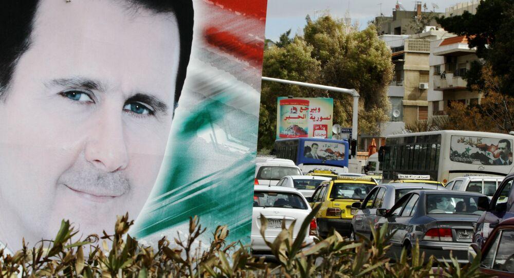 Portrait de président syrien Bashar al-Assad, Damas, Syrie