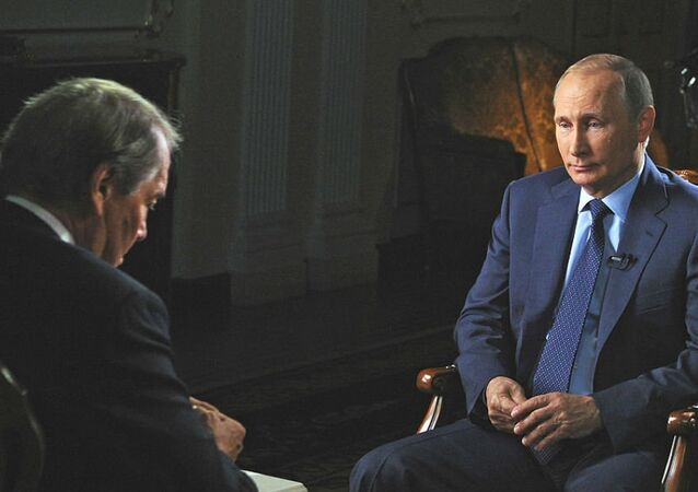 Interview avec le président russe Vladimir Poutine. Archive photo