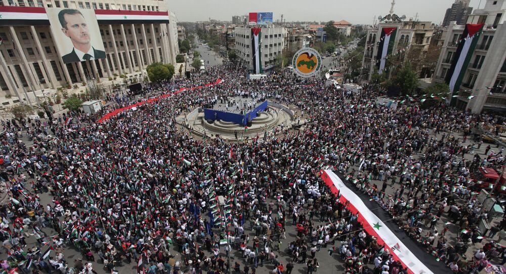 Rassemblement de soutien à Bachar el-Assad à Damas