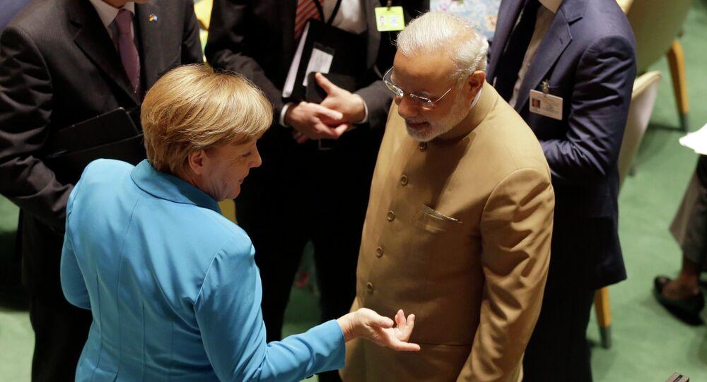 Angela Merkel et Narendra Modi. Archive photo