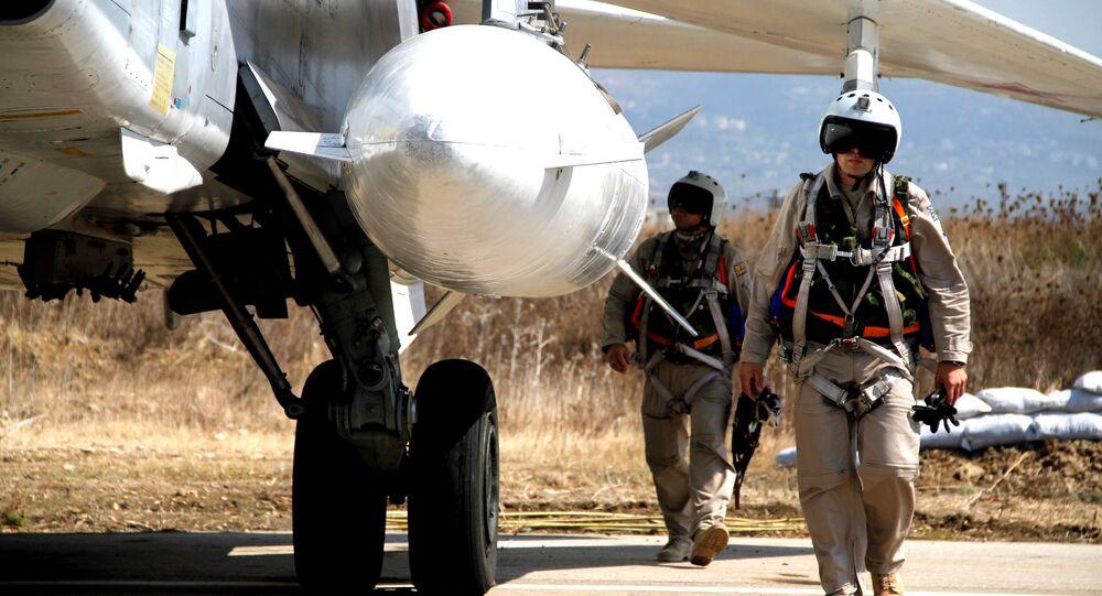 Groupe d'aviation militaire russe à la base aérienne Hmeymim en Syrie
