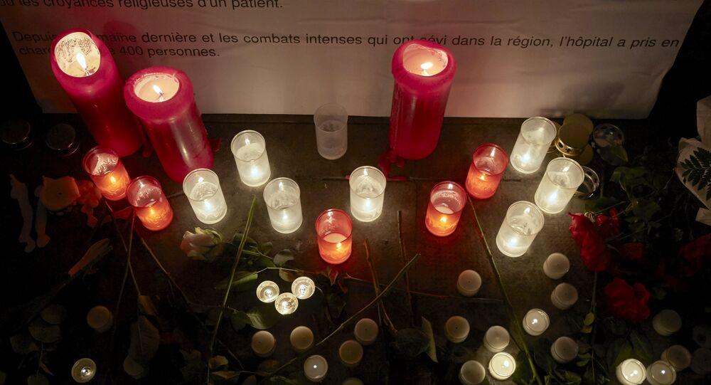 Bougies devant le siège de Médecins Sans Frontières (MSF),Genève