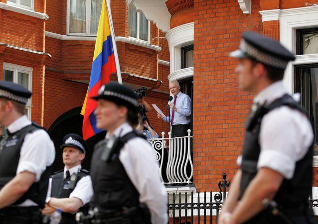 Julian Assange à l'ambassade d'Équateur à Londres