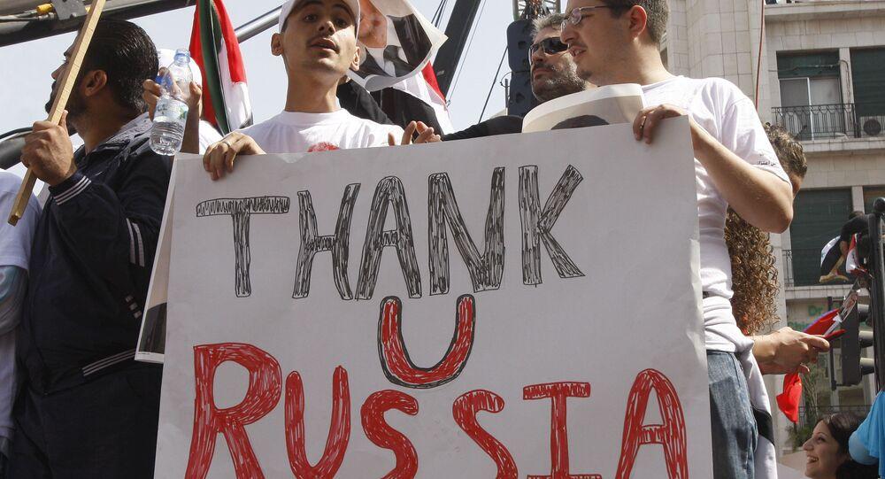 Des Syriens disant merci à la Russie, Damas, Syrie