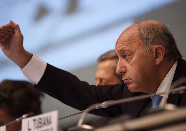 Laurent Fabius à Bonn ,Oct. 20, 2015