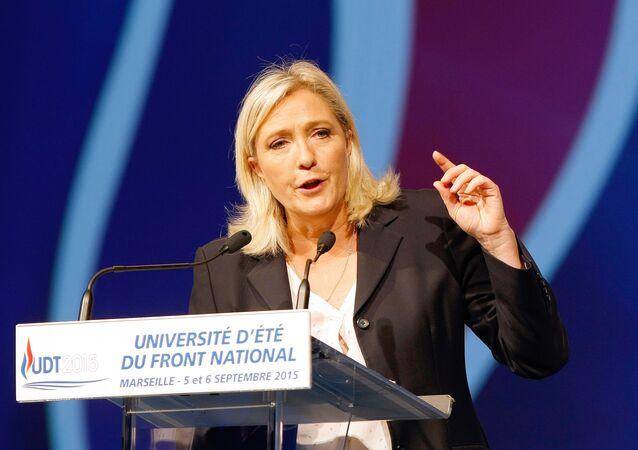 La présidente du FN Marine Le Pen lors d'un meeting à Marseille le 6 septembre 2015