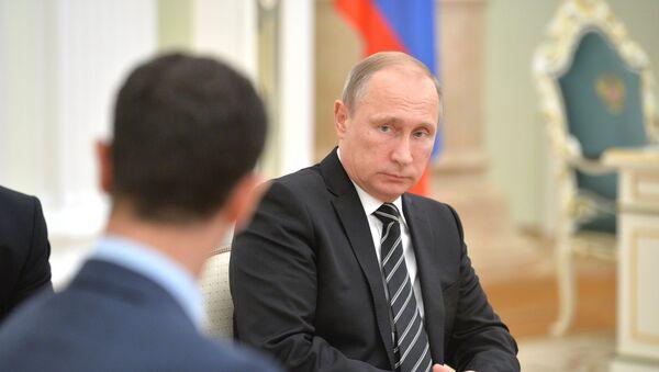 Le président syrien Bachar Al-Assad et le président russe Vladimir Poutine, Kremlin - Sputnik France