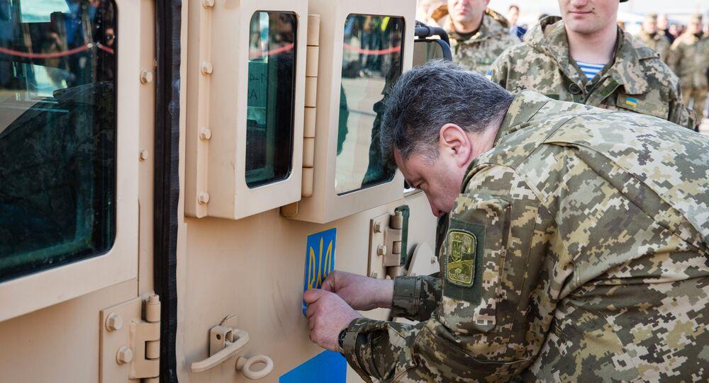Président de l'Ukraine Petro Porochenko a rencontré US Air Force