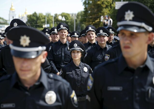 Офицеры полиции принимают присягу на верность украинскому народу в Киеве