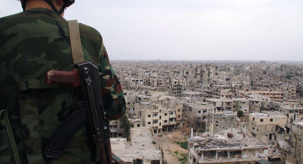 Soldat syrien à Homs, Syrie
