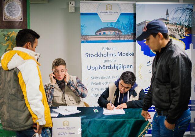 les réfugiés dans un centre d'accueil suédois