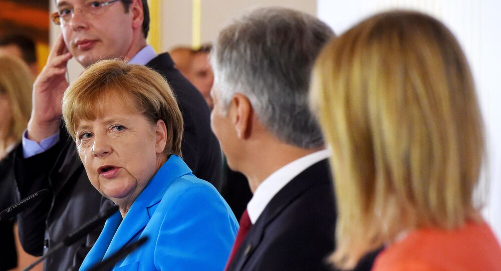 Le Premier ministre serbe Aleksandar Vucic, la chancelière allemande Angela Merkel, chancelier autrichien Werner Faymann et le Haut Représentant de l'UE  Federica Mogherini