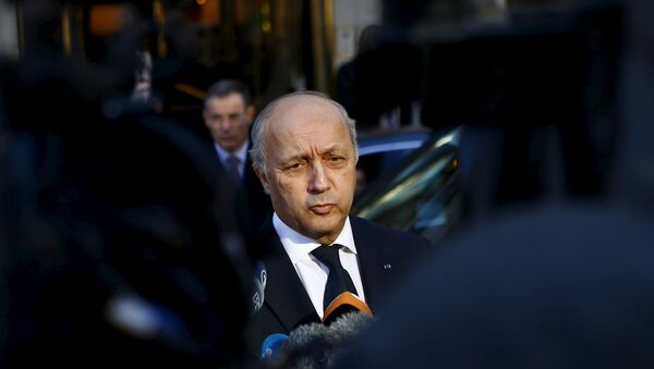 French Foreign Minister Laurent Fabius talks to the media after leaving a meeting in Vienna, Austria, November 14, 2015. - Sputnik France