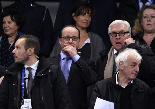 François Hollande et Frank-Walter Steinmeier au Stade de France
