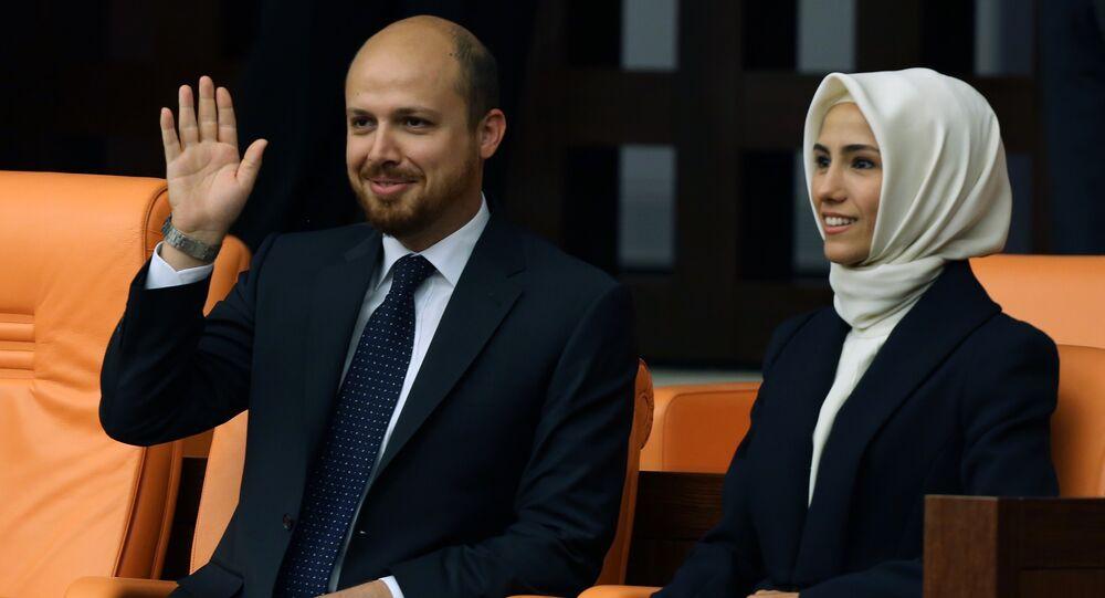 Bilal Erdogan et Sumeyye Erdogan. Archive photo