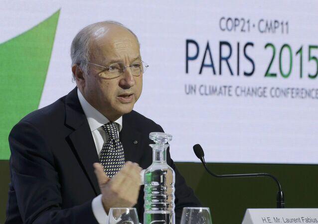 Laurent Fabius présente le projet d'accord final sur le climat à la COP21
