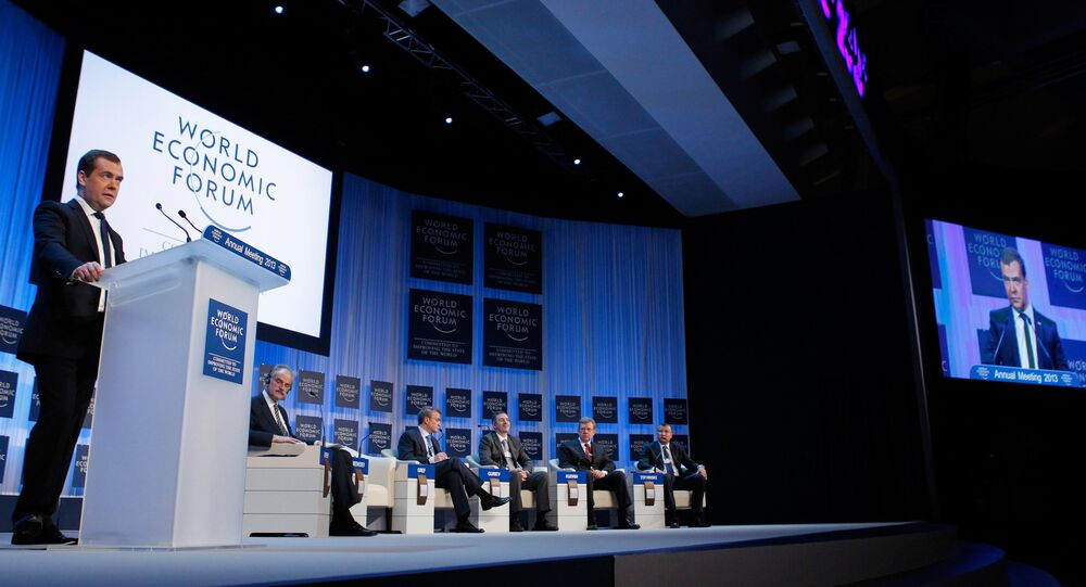 Dmitri Medvedev. Forum économique mondial. Davos. Archive photo