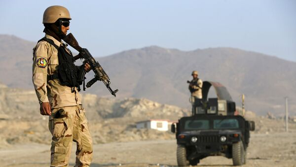 File photo of an Afghan policemen stand guard at a checkpoint in the Deh Sabz district of Kabul, Afghanistan October 14, 2015 - Sputnik France