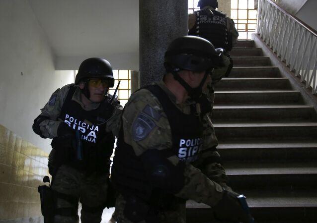 Un groupe antiterroriste bosnien lors d'un exercice à Sarajevo, le 21 mai 2015