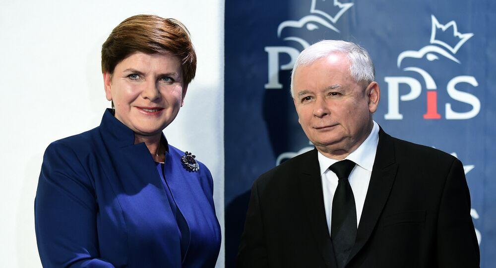 Le président du PiS Jarosław Kaczyński et la première ministre polonaise Beata Szydło