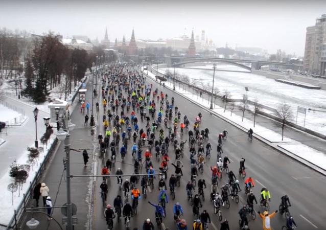 La première véloparade d'hiver à Moscou